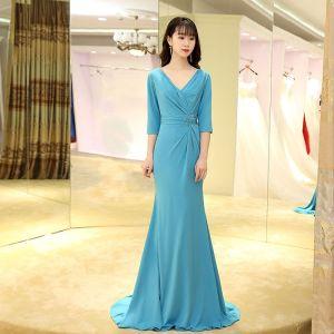 Elegante Blau Abendkleider 2017 Mermaid Sweep / Pinsel Zug V-Ausschnitt 3/4 Ärmel Rückenfreies Perlenstickerei Pailletten Stoffgürtel Festliche Kleider