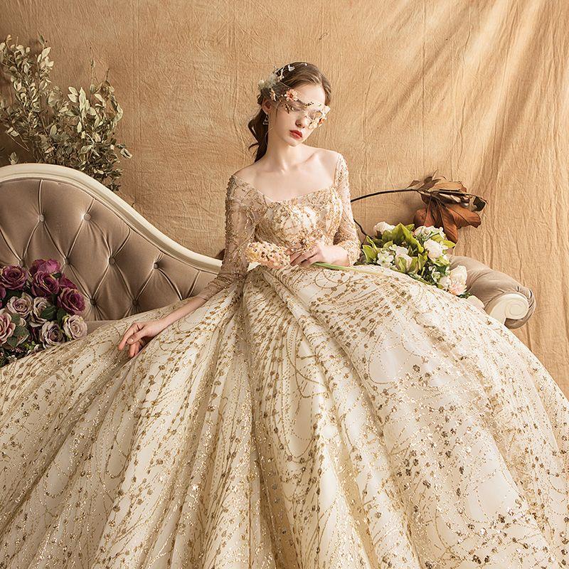 Luxus / Herrlich Gold Brautkleider / Hochzeitskleider 2019 Ballkleid Eckiger Ausschnitt Glanz Tülle Perlenstickerei Pailletten Kristall 3/4 Ärmel Rückenfreies Königliche Schleppe