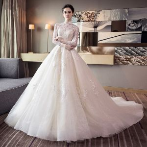Chinese style Ivory Wedding Dresses 2018 Ball Gown High Neck Long Sleeve Backless Appliques Lace Rhinestone Ruffle Cathedral Train