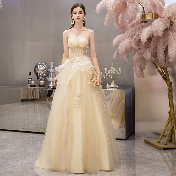 Chic Beautiful Yellow Evening Dresses 2019 A Line Princess Strapless Sleeveless Appliques Flower Beading Pearl Floor Length Long Ruffle Backless