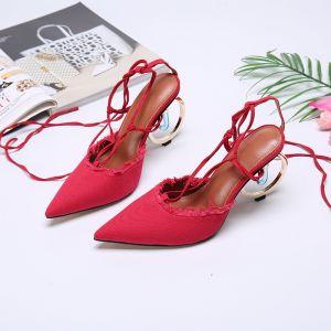 Mode Rouge Désinvolte Sandales Femme 2020 Cuir Bride Cheville 10 cm Talons Épais À Bout Pointu Sandales