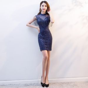 Chic / Beautiful Navy Blue Evening Dresses  2019 Trumpet / Mermaid Scoop Neck Beading Tassel Sequins Sleeveless Short Formal Dresses