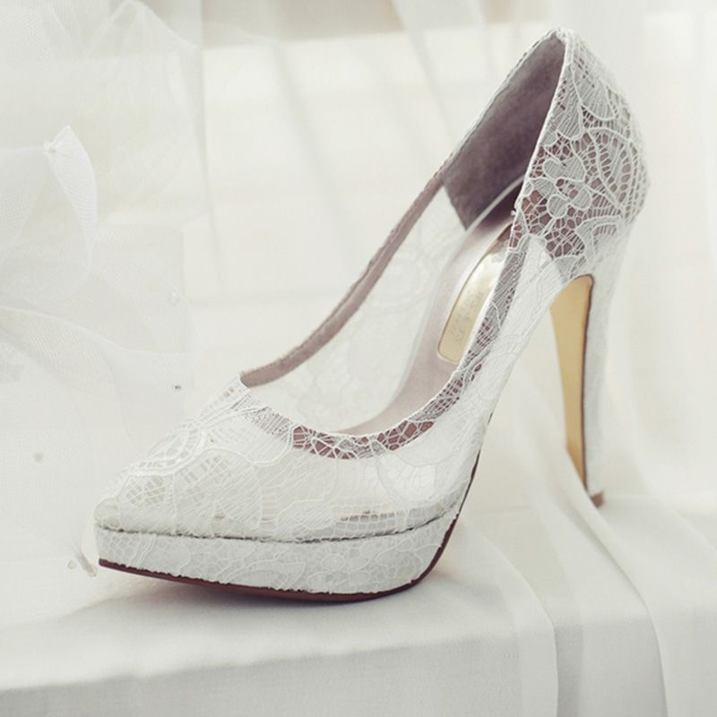 Chic / Beautiful White Wedding Shoes 2018 Wedding See-through Lace 10 cm Stiletto Heels Pointed Toe Pumps