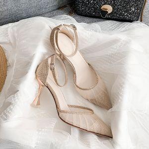 Sexy Champagner Abend Sandalen Damen 2020 Knöchelriemen Pailletten 8 cm Stilettos Spitzschuh Sandaletten