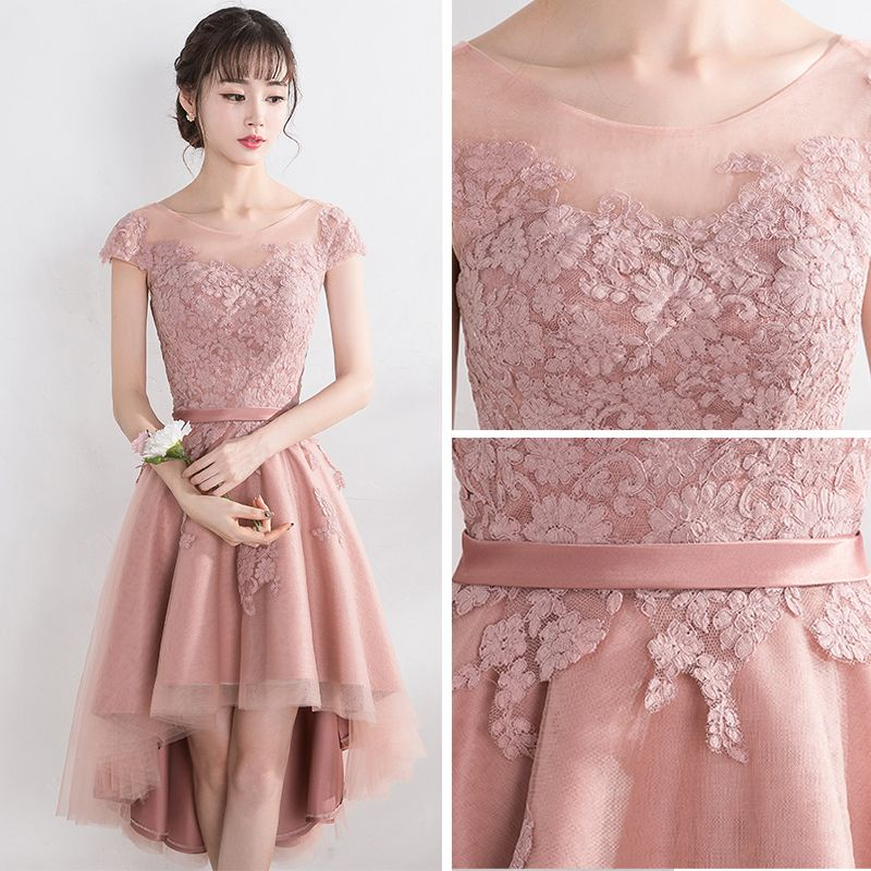 Lovely Pearl Pink Graduation Dresses 2017 A-Line / Princess Lace Flower Strappy Scoop Neck Short Sleeve Backless Formal Dresses