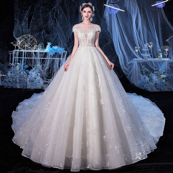 Illusion Ivory See-through Bridal Wedding Dresses 2020 A-Line / Princess Scoop Neck Short Sleeve Backless Glitter Tulle Appliques Flower Beading Cathedral Train Ruffle
