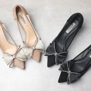 Chic / Beautiful Black See-through Dating Pumps 2019 Leather Bow Rhinestone 6 cm Stiletto Heels Pointed Toe Pumps