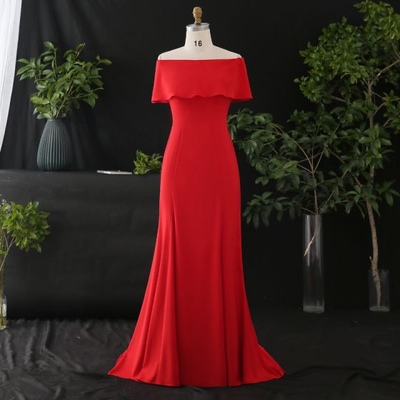 Modest / Simple Red Plus Size Evening Dresses  2020 Trumpet / Mermaid Off-The-Shoulder Zipper Up Solid Color Sleeveless Backless Sweep Train Evening Party Formal Dresses