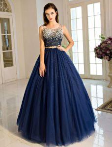 Vintage Robe De Bal Bleue Royal 2017 Robe De Ceremonie Boule Sans Dos Avec Boucle