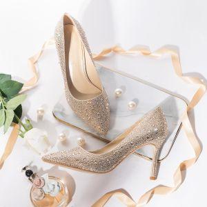 Charmant Doré Chaussure De Mariée 2019 Cuir Faux Diamant 8 cm Talons Aiguilles À Bout Pointu Mariage Escarpins
