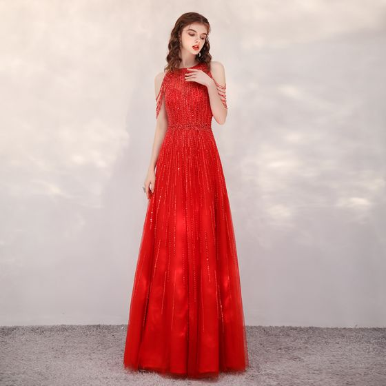 High-end Red Evening Dresses  2020 A-Line / Princess Scoop Neck Sleeveless Sequins Beading Floor-Length / Long Ruffle Formal Dresses