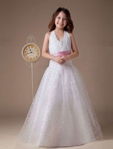 A-line Halter Satin Floor Length Flower Girl Dress