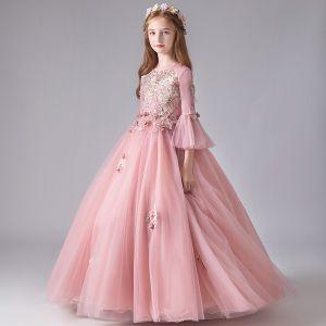 Chic / Belle Perle Rose Anniversaire Robe Ceremonie Fille 2020 Robe Boule Encolure Dégagée 3/4 Manches Manches de cloche Appliques Fleur Perlage Perle Longue Volants