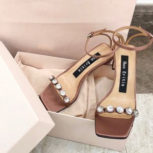 Fashion Champagne Evening Party Leather Womens Sandals 2020 Rhinestone Ankle Strap 6 cm Thick Heels Open / Peep Toe Sandals