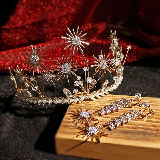 Piękne Złote Biżuteria Ślubna 2019 Stop Rhinestone Kwiat Kryształ Tiara Kolczyki Ślub Akcesoria
