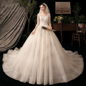Chic / Beautiful Champagne See-through Wedding Dresses 2020 Ball Gown V-Neck 3/4 Sleeve Backless Leaf Appliques Lace Beading Glitter Tulle Cathedral Train
