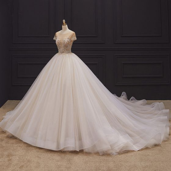 Luxury / Gorgeous Champagne Bridal Wedding Dresses 2020 Ball Gown See-through Scoop Neck Short Sleeve Backless Handmade  Beading Chapel Train Ruffle