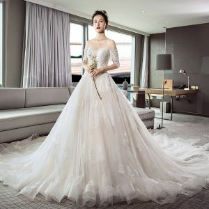 Luxury / Gorgeous Ivory Wedding Dresses 2018 A-Line / Princess Off-The-Shoulder Short Sleeve Appliques Lace Beading Backless Cathedral Train Ruffle