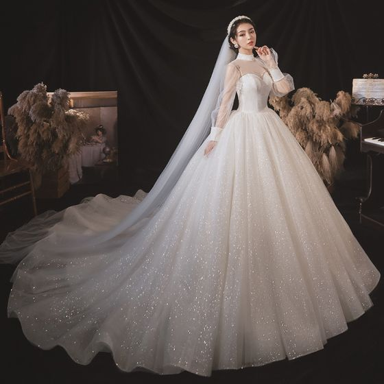 Victorian Style White Bridal Wedding Dresses 2020 Ball Gown See-through High Neck Puffy Long Sleeve Backless Beading Glitter Tulle Cathedral Train Ruffle