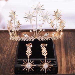 Najpiękniejsze / Ekskluzywne Złote Liść Tiara Kolczyki Biżuteria Ślubna 2019 Metal Kryształ Rhinestone Akcesoria