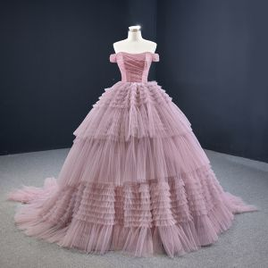 Luxe Rougissant Rose Robe De Bal 2020 Robe Boule De l'épaule Manches Courtes Tribunal Train Volants en Cascade Dos Nu Robe De Ceremonie