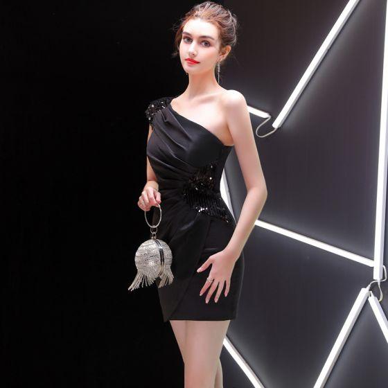 Sexy Black Evening Dresses  2019 One-Shoulder Sequins Short Backless Sleeveless Formal Dresses