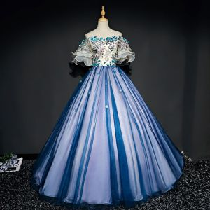Chic / Belle Bleu Marine Robe De Bal 2017 Princesse Tulle Appliques Dos Nu Perlage Bustier Promo Robe De Ceremonie