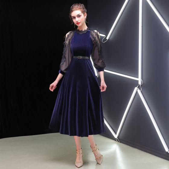 Elegant Dark Green Evening Dresses  2019 A-Line / Princess Suede Sash Scoop Neck 3/4 Sleeve Tea-length Formal Dresses