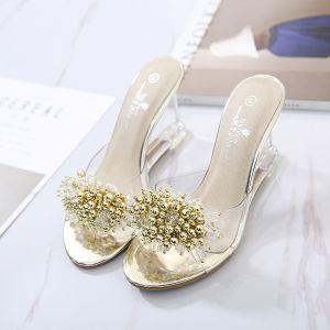 Mooie / Prachtige Goud Toevallig Rhinestone Sandalen Dames 2020 8 cm Sleehakken Peep Toe Sandalen