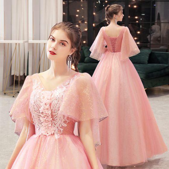 Elegant Candy Pink Prom Dresses 2021 V-Neck A-Line / Princess Beading Appliques Lace Flower Sequins 1/2 Sleeves Backless Floor-Length / Long Formal Dresses