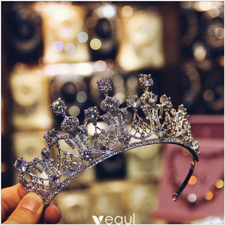 Amazing / Unique Silver Zircon Metal 2017 Tiara Bridal Jewelry Accessories