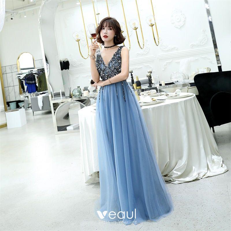 499485a732682 Charming Ocean Blue Evening Dresses 2019 A-Line / Princess V-Neck Beading  Crystal Sleeveless Backless Floor-Length / Long Formal Dresses