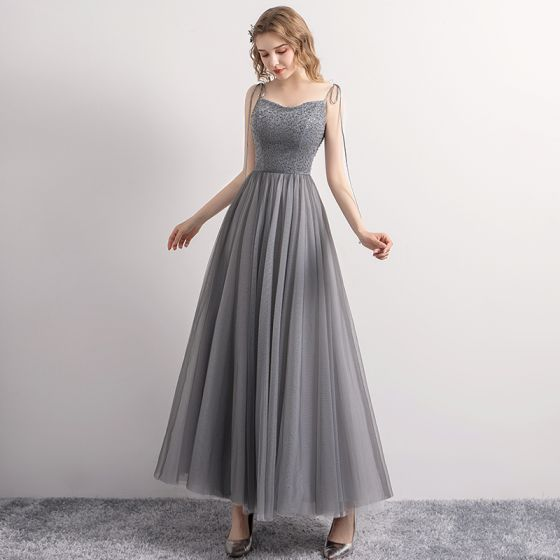 Chic / Beautiful Grey Prom Dresses 2019 A-Line / Princess Spaghetti Straps Bow Beading Sequins Sleeveless Backless Ankle Length Formal Dresses