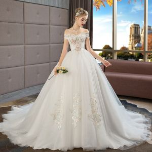 Chic / Beautiful Ivory Wedding Dresses 2019 Ball Gown Off-The-Shoulder Short Sleeve Backless Appliques Lace Pearl Rhinestone Chapel Train Ruffle