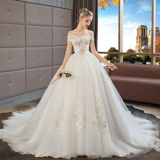 Beautiful Wedding Dresses.Chic Beautiful Ivory Wedding Dresses 2019 Ball Gown Off The Shoulder Short Sleeve Backless Appliques Lace Pearl Rhinestone Chapel Train Ruffle