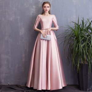 Chic / Beautiful Candy Pink Evening Dresses  2018 A-Line / Princess Bow Pearl Scoop Neck Backless 3/4 Sleeve Floor-Length / Long Formal Dresses