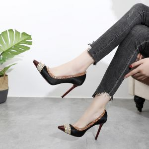 Chic / Beautiful Black Cocktail Party Leather Pumps 2020 Rivet 10 cm Stiletto Heels Pointed Toe Pumps