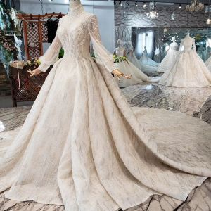 Amazing / Unique High-end Champagne Ball Gown Wedding Dresses 2020 Long Sleeve Scoop Neck Handmade  Backless Beading Crystal Pearl Rhinestone Sequins Cathedral Train Wedding
