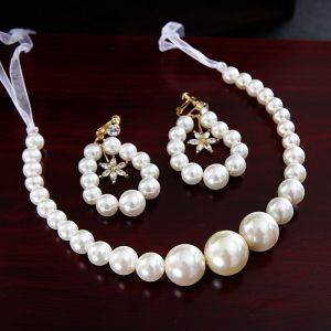 Chic / Beautiful Ivory Pearl Wedding Headbands 2020 Lace-up Earrings Headpieces Bridal Jewelry