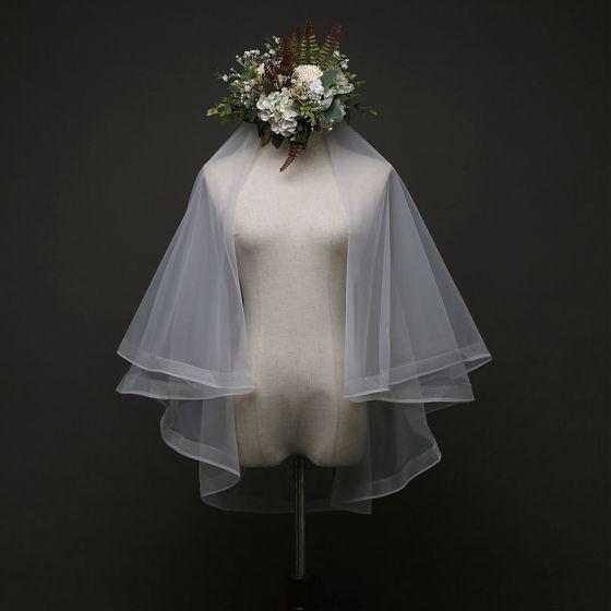 Vintage Bröllop Elfenben Tyll 1.5 m Korta Brudslöja 2019