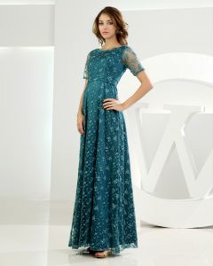 Jewel Short Sleeve Zipper Applique Ankle Length Lace Mother of the Bride Dress