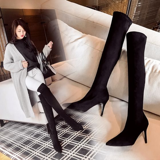 High End Schwarz Strassenmode Wildleder Stiefel Damen 2020 Leder 8 cm Stilettos Spitzschuh Stiefel