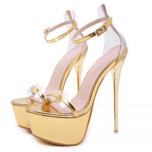 Sexy Gold Evening Party Womens Sandals 2020 Ankle Strap 15 cm Stiletto Heels Open / Peep Toe Sandals