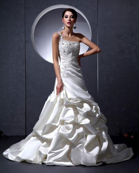 Mode Satin Perlen Rüschen Ein Schultergurt Gericht Stickerei A-linie Hochzeitskleid Brautkleider