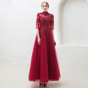 Vintage / Retro Burgundy See-through Prom Dresses 2019 A-Line / Princess High Neck Bell sleeves Appliques Lace Beading Floor-Length / Long Ruffle Backless Formal Dresses