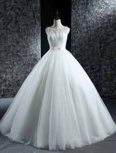 Elegante Brautkleider 2016 Ballkleid Mit Rundhalsausschnitt Sicken Pailletten Perlen Rüschen Tüll Rückenfrei Hochzeitskleider