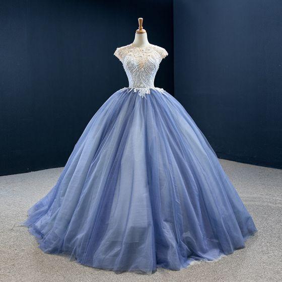 Luxury / Gorgeous Ocean Blue Prom Dresses 2020 Ball Gown Scoop Neck Sleeveless Handmade  Beading Sweep Train Ruffle Backless Formal Dresses