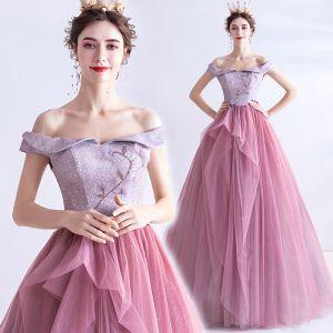 Uroczy Cukierki Różowy Sukienki Na Bal 2020 Princessa Przy Ramieniu Frezowanie Rhinestone Cekiny Bez Rękawów Bez Pleców Długie Sukienki Wizytowe