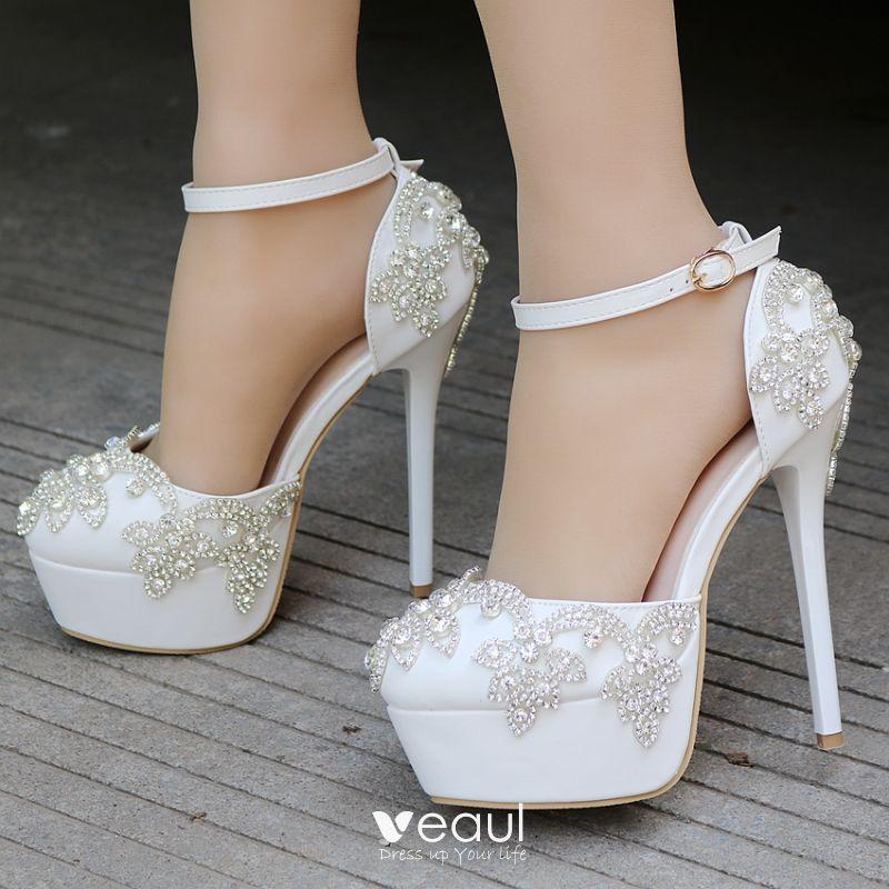 415cadc43d5 Modern / Fashion Ivory Wedding Shoes 2018 Rhinestone Ankle Strap 14 ...