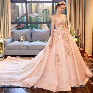 Luxe Rougissant Rose Robe De Mariée 2018 Robe Boule De l'épaule Manches Courtes Dos Nu Perlage Appliques Fleur Faux Diamant Volants Royal Train